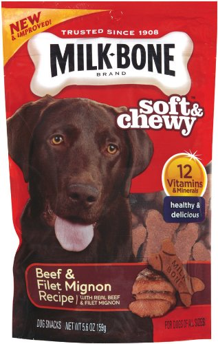 Milk-Bone Soft & Chewy Beef & Filet Mignon Recipe Dog Snacks, 5.6-Ounce (Pack of 5) For Sale