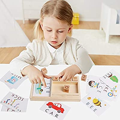 HOONEW Matching Letter Flash Cards Educational Toys ABC Wooden Letters Learning Games ,Develops Alphabet Blocks Vocabulary Spelling Skills Toy Gift for 3 Year Olds Toddlers: Toys & Games