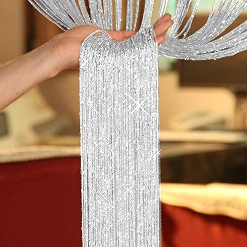 JNYUTECH 200cm100cm Fly Screen Fringe Tassel Curtain String Sparkle Curtains Room Divider Door Window Decor Heart Curtain/Silver String Curtain