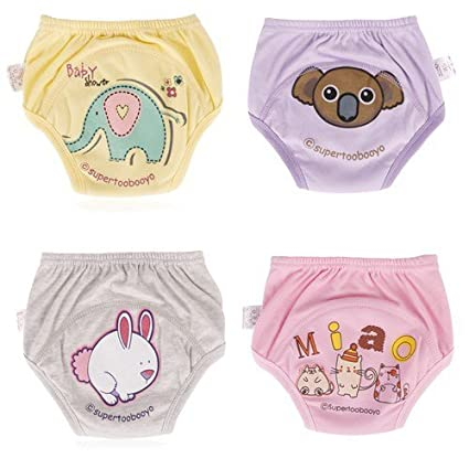 creamily® 4 Pack bebé niñas niños Cute WC pee – Pantalones de entrenamiento para el