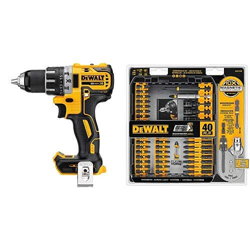 DEWALT DCD791B 20V MAX XR Li-Ion 0.5 Brushless Compact Drill Driver with DWA2T40IR IMPACT READY FlexTorq Screw Driving Set, 40-Piece