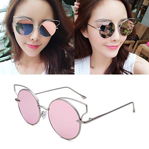 UV UVA Protección Decoración Polarizada gafas Protección Silver de 100 Grande Anti Pink Silver Clásico Solar sol Borde Hombres Luz Pink Color WYYY Sra Retro TZw7q7Px