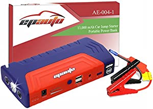 EPAuto 600A Peak 13000mAh Car Jump Starter Battery Booster with Portable Charger Power Bank and LED Flashlight for Vehicle Emergency 5L Gas and 3L Diesel Engines