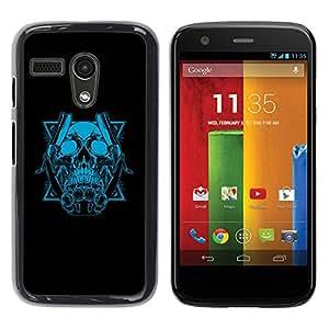 """For Motorola Moto G ( 1st Generation ) , S-type Azul del cráneo y Cuchillas"""" - Arte & diseño plástico duro Fundas Cover Cubre Hard Case Cover"""