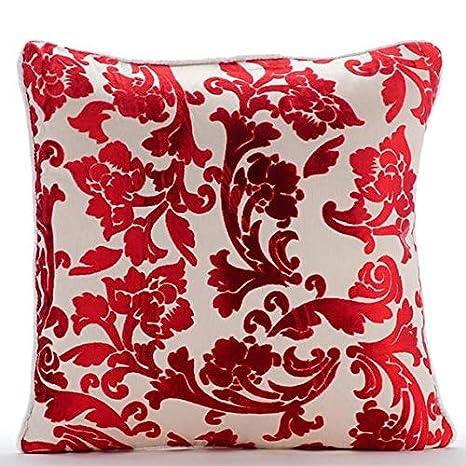 Cayena Roja Cojines Cubren, Floral Roja 50x50 cm Lanzar ...