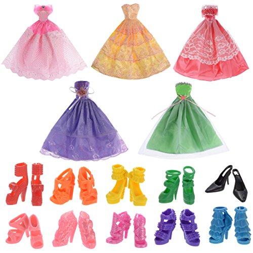 5 Pack Barbie Doll Clothes Wedding Party Gown Dresses with 10 Pairs Doll Shoes for Girl's Birthday Christmas Gift