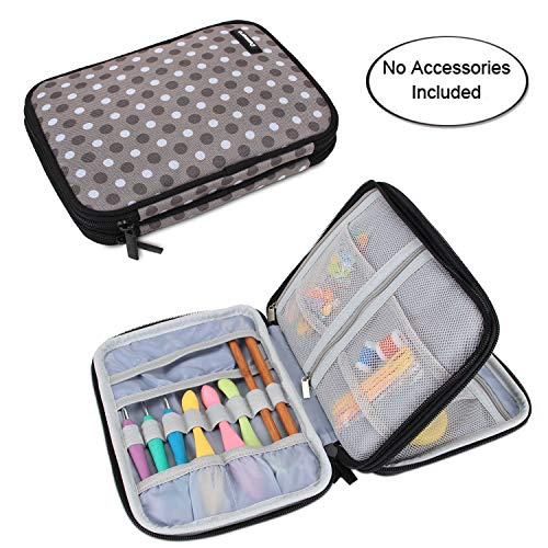 Damero Crochet Hook Case, Travel Storage Bag for Swing Crochet Hooks, Lighted Hooks, Needles(Up to 8'') and Accessories, Large, Gray Dots (No Accessories Included)