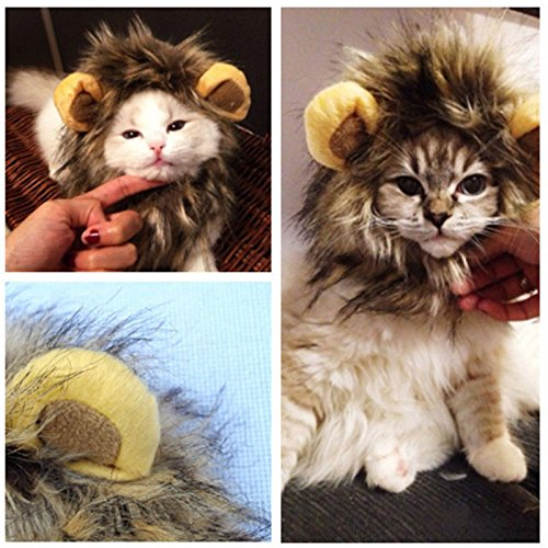NPLE--New Pet Dog Hat Costume Lion Mane Wig For Cat Halloween Dress Up With Ears