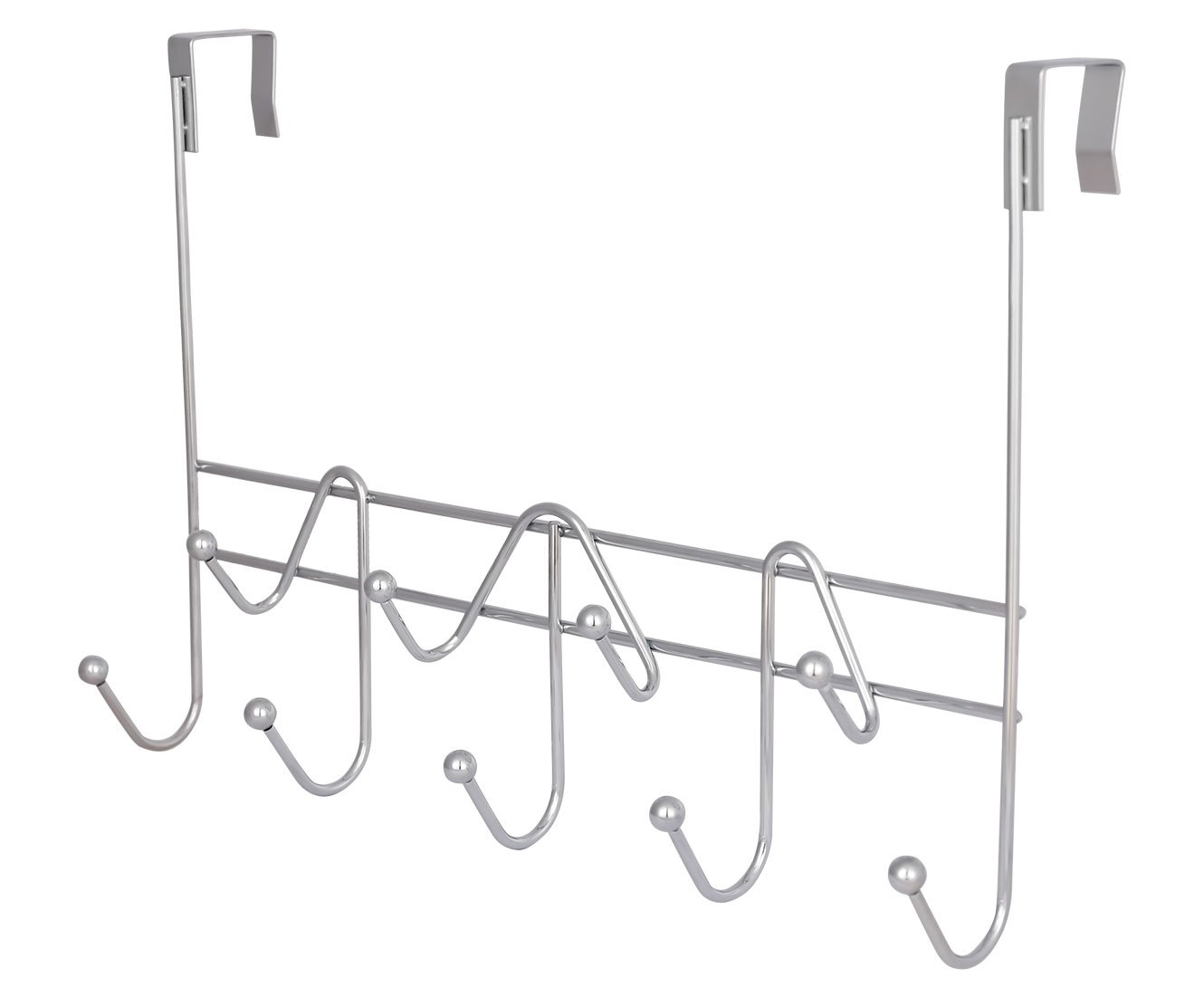 ESYLIFE Hooks Over the Door Hook Organizer Rack Hanging Towel Rack Over Door, 9 Hooks, Chrome Finish ShiYuan SYNCHKG095184