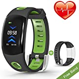 VORSTEK Fitness Tracker 3D Screen Shake Wristband Taking Picture Pedometer Auto Sleep Tracker Sedentary Alert Heart Rate Monitor Calls SMS Reminder Waterproof IP67 Black Band Replacement