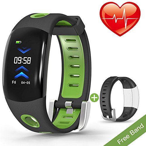 VORSTEK Fitness Tracker 3D Screen Shake Wristband Taking Picture Pedometer Auto Sleep Tracker Sedentary Alert Heart Rate Monitor Calls SMS Reminder Waterproof IP67 Black Band Replacement by VORSTEK