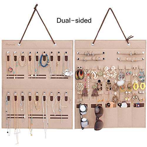 PACMAXI Double Sided Hanging Jewelry Organizer, Multi-Functional Compartment Hold Earring,Necklaces, Bracelets, Rings. (Beige)