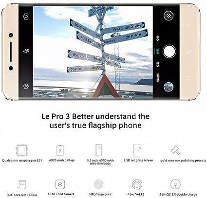 LeEco Le Pro 3 Android Smartphone-821 Snapdragon CPU, Memoria RAM de 6 GB, 64 GB de Memoria, Android, cámara de 16MP, 6,0 4 g (: Amazon.es: Electrónica