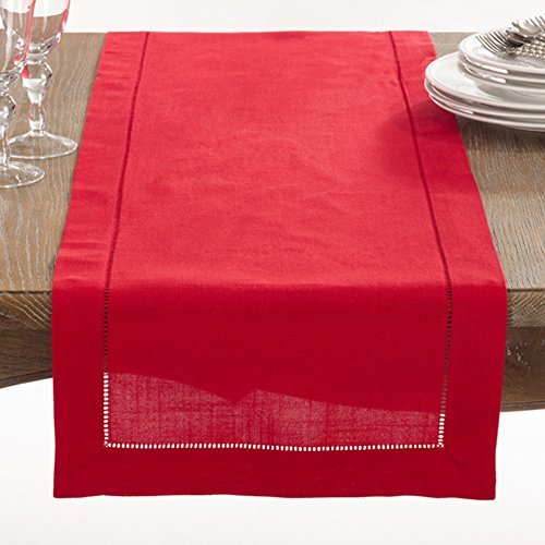 Fennco Styles Rochester Collection with Hemstitched Border Table Runner - Linen-Cotton - 3 Sizes (16X72) by fenncostyles.com