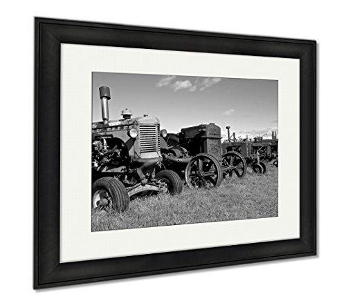 Ashley Framed Prints Row Of Old Worn Out Tractors, Wall Art Home Decoration, Black/White, 26x30 (frame size), Black Frame, - Clutch Ashley