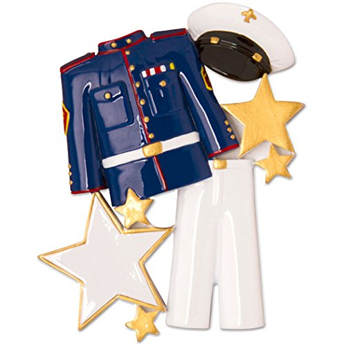Personalized Marine Uniform Christmas Tree Ornament 2019 - Armored Force Service Formal Coat Hat Star Brave Proud Soldier Patriotic Gender Neutral Navy Sail Anchor New Job Year - Free Customization