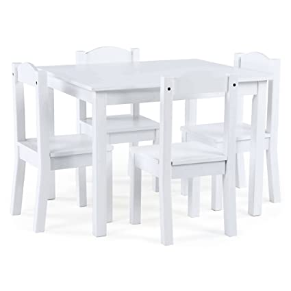 Tot Tutors TC307 Carter Collection Kids Wood Table U0026 4 Chair Set, White