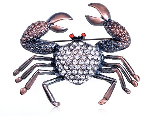 Alilang Gunmetal Tone Clear Rhinestones Antique Vintage Inspired Nautical Crab Brooch Pin (Ladies Top Gun Costume)