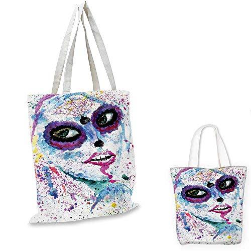 Girls canvas messenger bag Grunge Halloween Lady with Sugar Skull Make Up Creepy Dead Face Gothic Woman Artsy canvas beach bag Blue Purple. 12