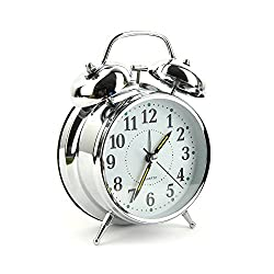 Syman 4 inch Non Ticking Twin Bell desktop Retro Vintage Style analog quartz movement Alarm Clock for Heavy Sleepers and bedrooms travel alarm clock