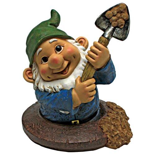 Garden Gnome Statue – Shoveling Sam Gnome-In-A-Hole – Outdoor Garden Gnomes – Funny Lawn Gnome Statues