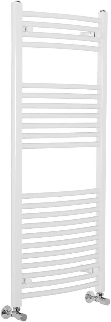 Contemporary Curved Heated Bathroom Towel Rail Radiator Rad 1100 x 600 White