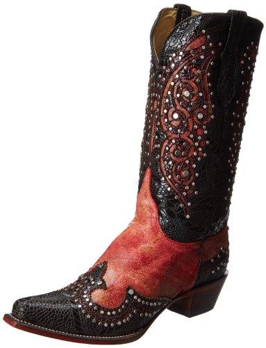 Ferrini Women's Butterfly Western Boot - Red/Black - 6 B(...