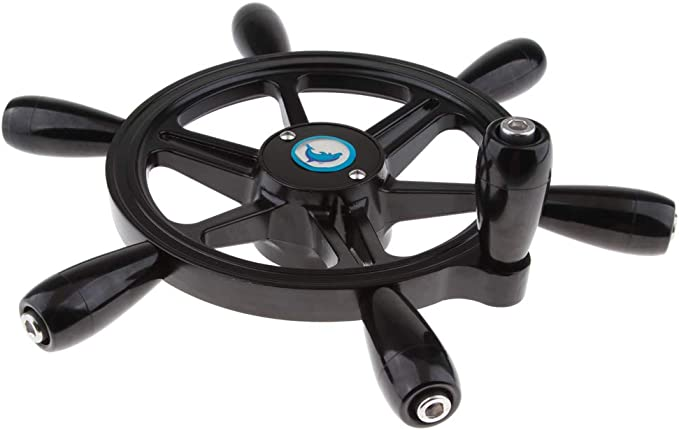 "Traditional 15/"" Boat Steering Wheel 6 Spokes Black Marine Yacht"