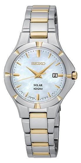 Seiko Reloj Analogico para Mujer de Energía Solar con Correa en Acero Inoxidable SUT294P1: Amazon.es: Relojes