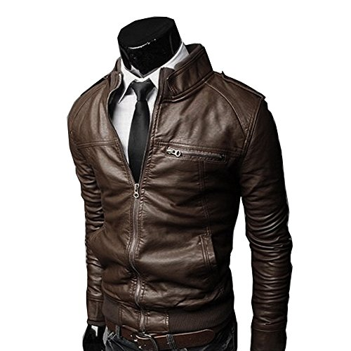 Cottory Men's Slim Fit PU Faux Leather Zipper Closure Rider Jacket