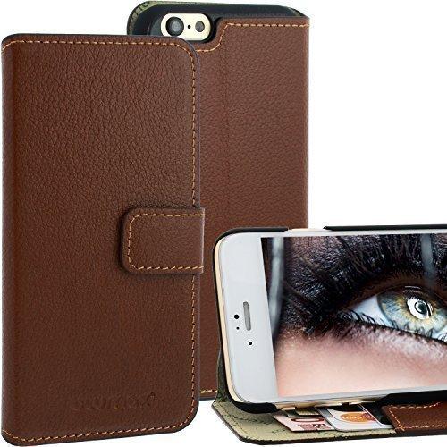 """Blumax Wallet Case Ledertasche für Apple iPhone 6 mit Magnetschnalle mit Fächern für sämtliche Visitenkarten / Kreditkarten im Bookstyle, Braun, 4,7"""" Zoll, Echt Leder"""