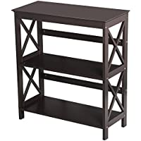 Topeakmart 3 Shelf Wood Montego Bookcase Bookshelf X-Design Storage Shelves Display Rack Stand Shelving Units, Espresso