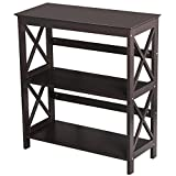 Topeakmart 3 Shelf Wood Montego Bookcase Bookshelf X-Design Storage Shelves Display Rack Stand Shelving Units, Espresso Review