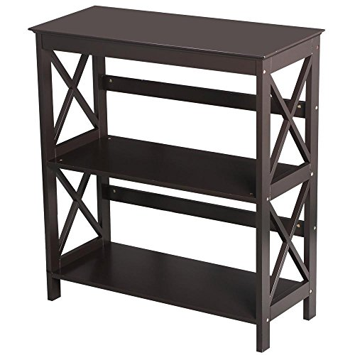 3 Table Shelf Office (Topeakmart 3 Shelf Wood Montego Bookcase Bookshelf X-Design Storage Shelves Display Rack Stand Shelving Units, Espresso)