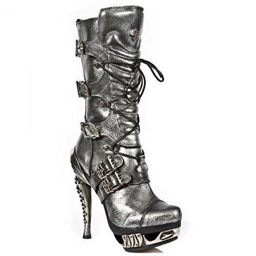 New Rock Boots M.mag006-c6 Gotico Hardrock Punk Damen Schnürstiefel Acciaio Colorato