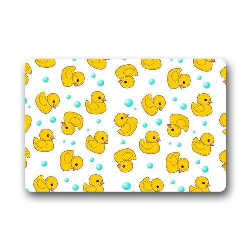 Keke's Home Cartoon Little Yellow Ducky and Blue Dots Art Pattern, Polyester Front Door Mat Welcome Doormat for Home, Indoor, Entrance, Kitchen, Patio, Entry, Bathroom,23.6