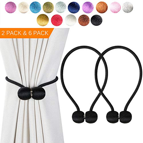 Giayouneer Curtain Tiebacks, Magnetic Curtain Buckle - 2 Pack 16 Inch Strong Magnetic Window Clips Tie Band Backs Holders, European Style Simple Modern - 1 Pairs ( Black )