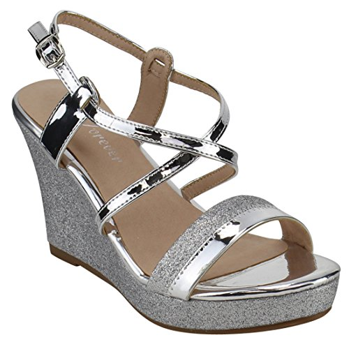 Silver Patent Leather Ladies Sandals - FOREVER FQ51 Women's Glitter Strappy Wrapped Wedge Heel Platform Sandals, Color Silver, Size:6