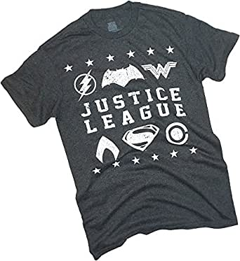 Vintage Logos -- Justice League Movie Adult Heather T-Shirt, Small