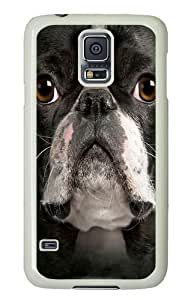 Big Face Boston Terrier Polycarbonate Hard Case Cover for Samsung S5/Samsung Galaxy S5 White by mcsharks