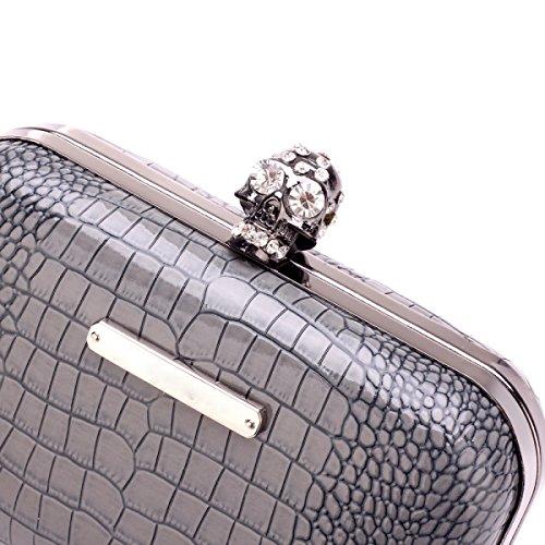 2017 Otoño E Invierno El Nuevo Esqueleto Diamante Serpentina Brillante Caja De Cena Bolso De Noche Paquete De Cadena Black