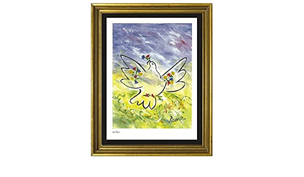 "Pablo Picasso Signed//Hand-Numbrd Ltd Ed /""Dove w Flowers/""  Litho Print unframed"