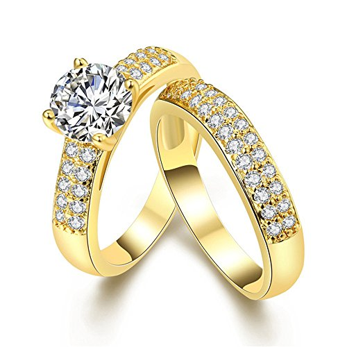 Pair Wedding Rings (Uloveido Jewelry Promise Engagement Double Ring Set for Women Gold Color Pairs Wedding Band KR005-Gold-Couple-6)