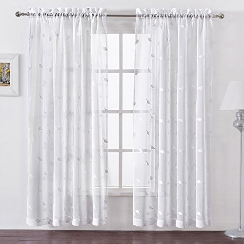 DWCN Floral Embroidered White Sheer Window Curtains Rod Pocket Curtain Semi Transparent Voile for Living Room Faux Linen Bedroom 52x84 inch Long, 2 ()