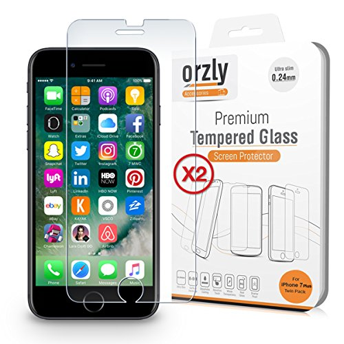Orzly iPhone 8 Plus Screen Protector [Twin Pack Easy-Install] Tempered Glass Screen Protector iPhone 8 Plus/iPhone 7 Plus, [3D Touch & Case Compatible] Transparent Glass Screen Protectors [x2]