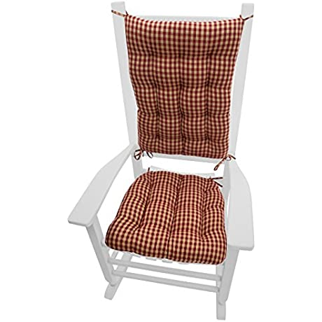 Rocking Chair Cushions Checkers Red Tan Size Extra Large Latex Foam Fill Reversible 1 4 Check