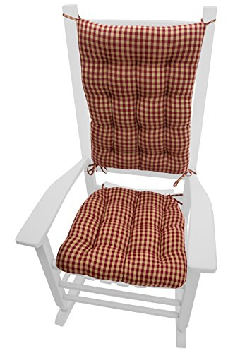 Barnett Products Rocking Chair Cushions - Checkers Red & Tan - Size Standard - Foam Filled Cushion