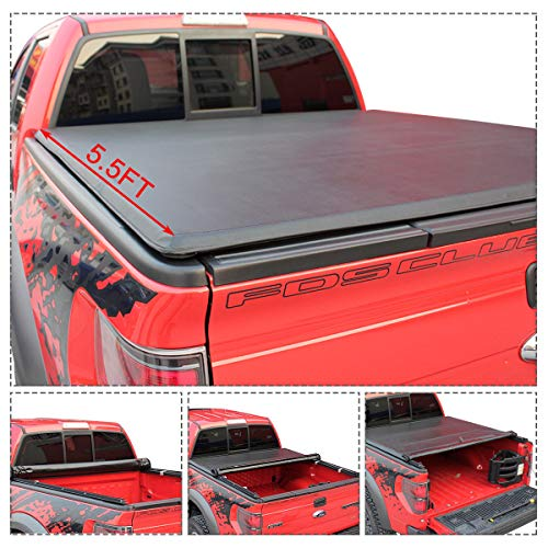 Goplus Roll Up Truck Bed Tonneau Cover Work with 2015-2018 F-150 5.5ft Bed