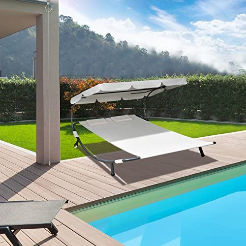 CCLIFE Tumbona de jardín Playa Piscina con Parasol Ajustable ...