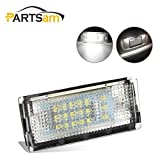 Partsam 6000K White LED License Plate Lights Lamps Assembly Set Compatible with BMW 3 Series E46 4D 325i 330i (Pack of 2pcs)
